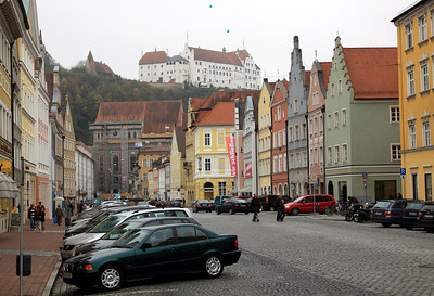 Landshut - Another view down Neustadt, showing Burg Trausnitz (Trausnitz Castle) on the hill.