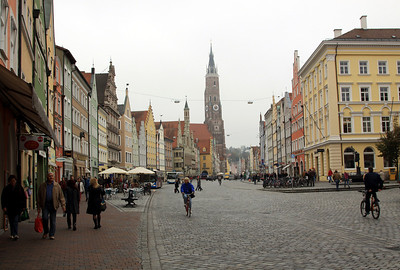 Landshut - Altstadt, the historic main street of Landshut, with St Martins church in the background.