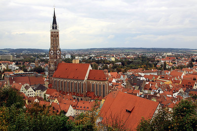 Landshut - Another view of the town and St Martin's church.