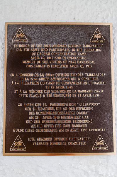 A plaque honoring the liberators of the Dachau Concentration Camp.