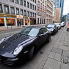 Porsches on the streets of Frankfurt.