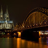 The Dom and the train bridge over the Rhine River.