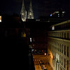 A view of the Dom towers at night from our hotel room balcony.