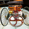 View of the rear of the 1886 Benz Patent Motor Car and the gasoline engine.