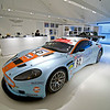 A race car at the Aston Martin store.