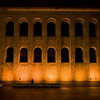 Roman Basilica (Aula Palatina), built in the early fourth century by Emperor Constantine the Great, lit up at night.