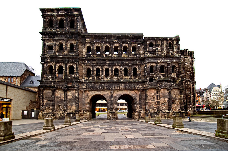 The Porta Nigra (Black Gate) was built in the last third of the second century and is the largest surviving gate north of the Alps.