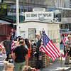 Berlin July, 2012. Replica of Checkpoint Charlie between East and West Berlin.