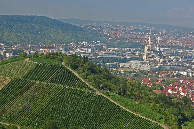 Stuttgart vineyards and Mercedes plant to the right