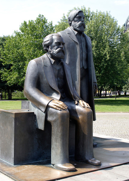 Statue of Karl Marx and Friedrich Engels at the Marx Engels Forum Berlin