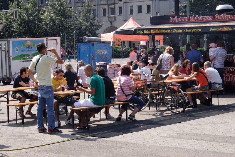 Young Berliners relaxing at cafe near the Rotes Rathaus