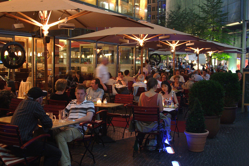 Cafe in Sony Centre Potsdamer Platz at night Berlin August 2007