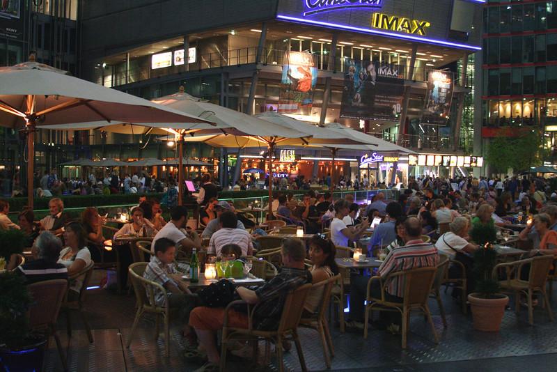 Cafe in Sony Centre Potsdamer Platz at night Berlin