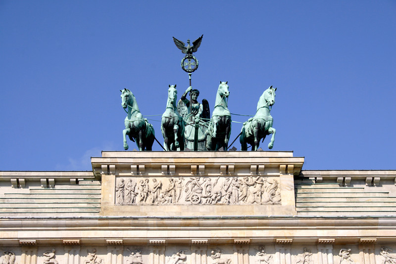 Closeup Brandenburg Gate Pariser Platz Berlin