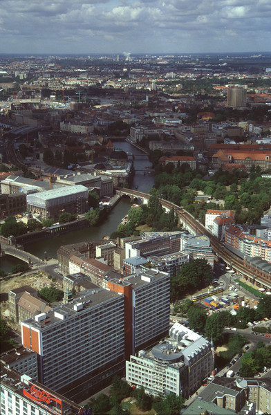 Berlin skyline and River Spree view from TV Tower