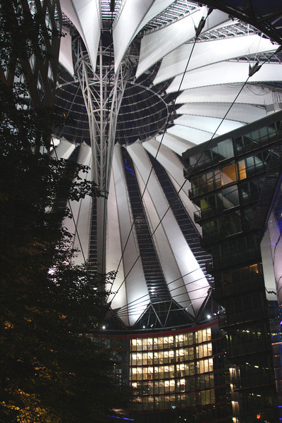 Roof of Sony Centre Potsdamer Platz at night Berlin