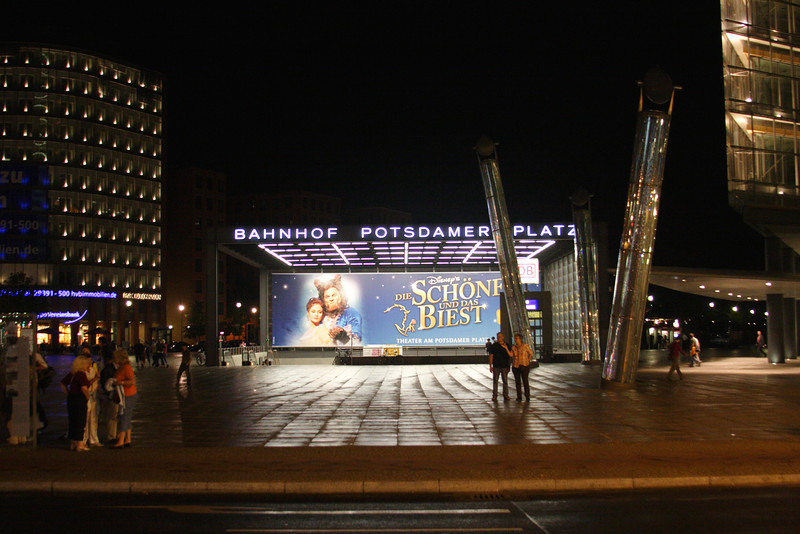 Metro Station entrance at night Potsdamer Platz Berlin