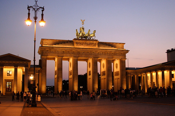 Brandenburg gate at dusk Berlin