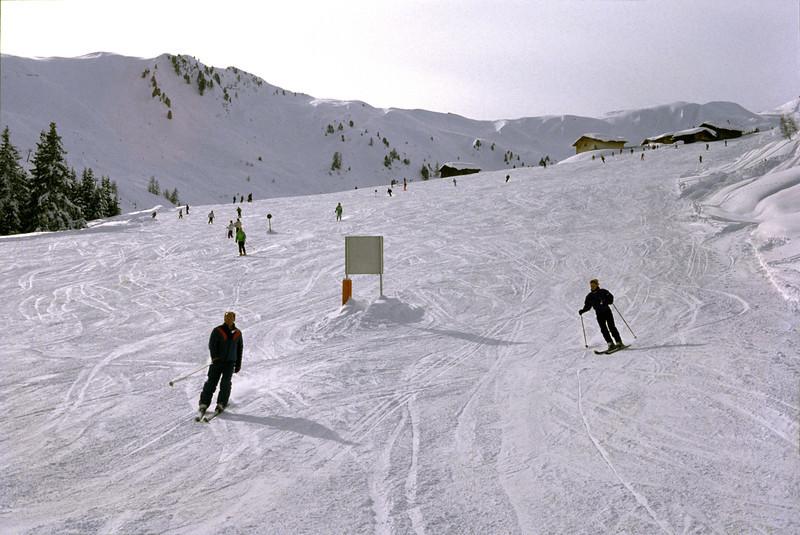 Blue ski piste near Mayrhofen Austria