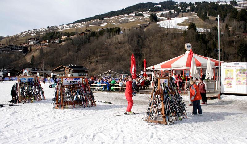 Ski stands at Hinterglemm ski resort Austria March 2007