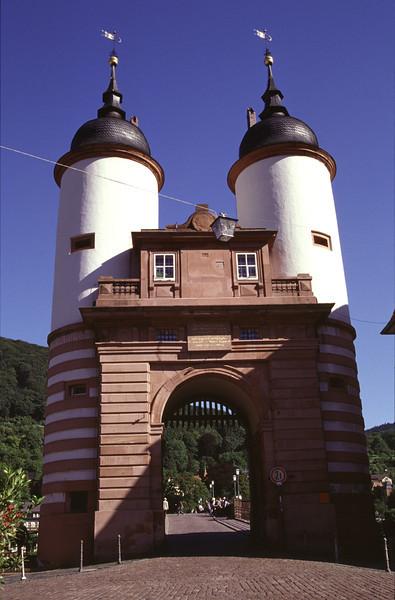 Gate at bridge over the Neckar River Heidelberg