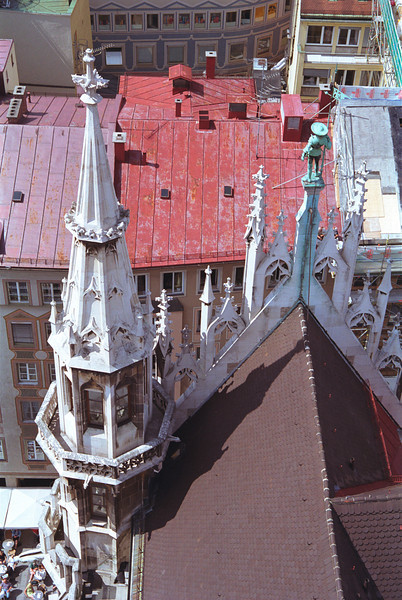 Munich rooftops view from spire in New Town Hall