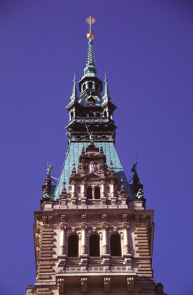 Clock Tower of Town Hall Hamburg Germany