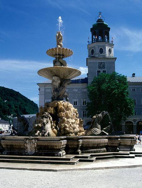 Fountain in Residenzplatz Salzburg