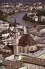 Salzburg cityscape and Franciscan Church