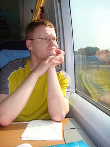 Michal looking out the window of the ICE train on the way to Luxembourg.
