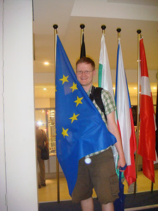Michal poses with the EU flag next.
