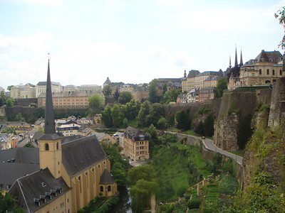 The same road and walk we took in Luxembourg City, but this time as seen from a little lower down inside the Bock Casements.