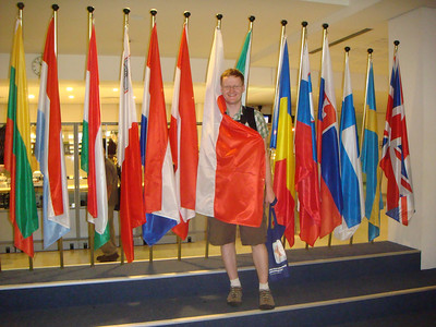 Michal with the Polish flag at the Parliament building after our tour concluded.