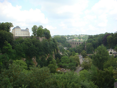 Luxembourg City - the view from the bridge into town from the train station.