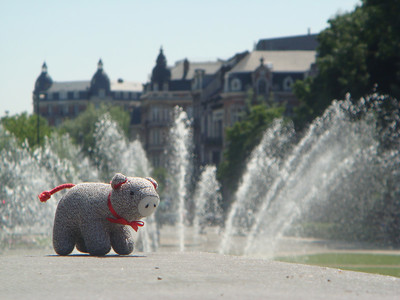 HUmboldt with a fountain on the far side of Jubilee park.