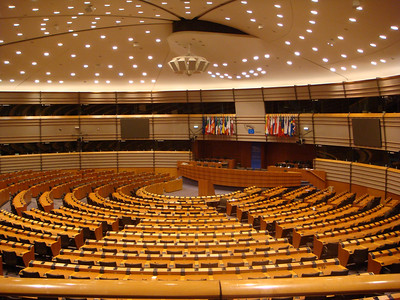 It was pretty cool to sit in the visitors galley of the EU Parliament, even without any members present. The booths along the sides list the various languages - there were 23 of them.