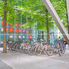 landscape,architectural structure, bicycles parked together and  multi-color lights