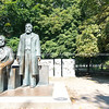 Statue of two men considered to be the fathers of socialism, Karl Marx and Friedrich Engels in park in Berlin