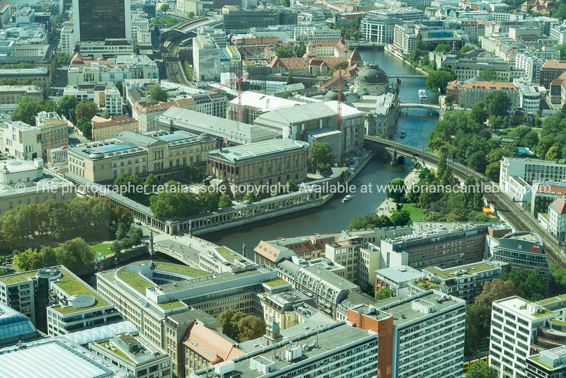 Berlin ciryscape with Spree Canal flowing around one side of Museum Island