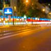 Light trails along busy European city street