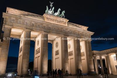 berlin, germany - august 28, 2017; Historic Brandenburg Gate tourist attarction in the city at night.
