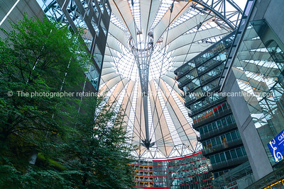 Overhead architectural canopy detail Sony Center courtyard and mall at potsdamer Platz, Berlin.