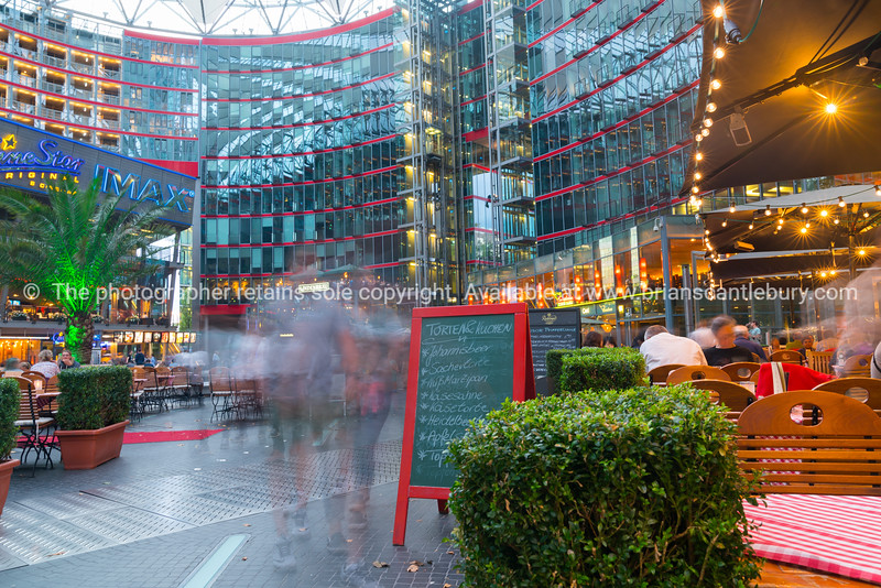 Long exposure in Sony Center courtyard and mall at Potsdamer Platz, Berlin.