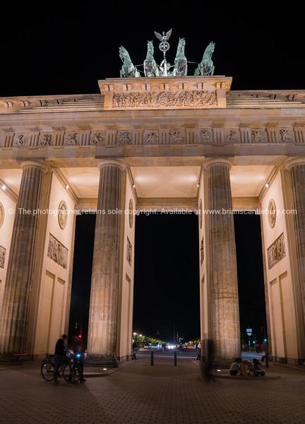 Historic  Brandenburg Gate illuminated at night