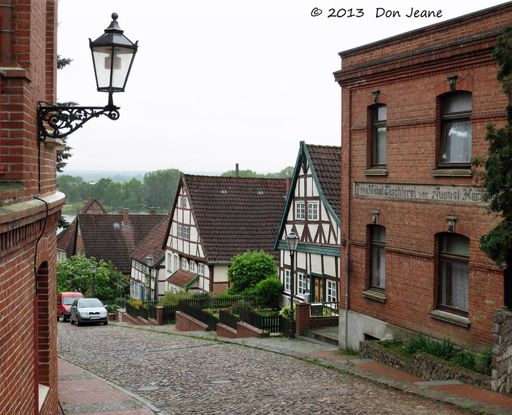 Lauenburg charming city streets. May 18, 2013. The Elbe River in the background.