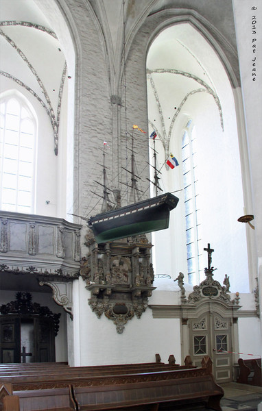 St Mary's Lutheran Church, Rostock. May 23, 2013. A  boat model hanging from the ceiling.