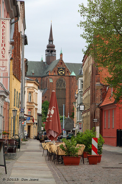 Stralsund City streets, May 24, 2013. St Mary's in the background.