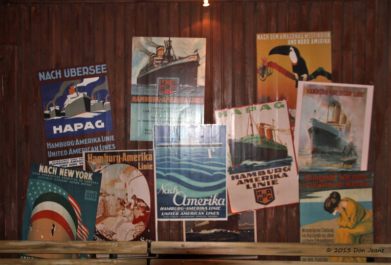Hamburg Ballinstadt Immigration Museum, May 17, 2013. Posters advertising America.