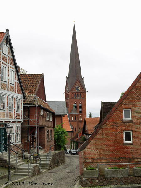 Lauenburg charming city streets. May 18, 2013. Lutheran Church.