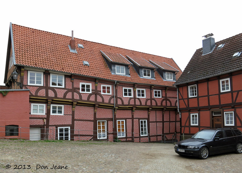Lauenburg charming city streets. May 18, 2013. Not sure how to describe this kind of building.